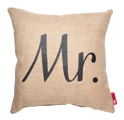 Expressive Mr. Burlap Jute Throw Pillow
