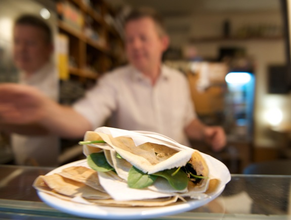 Roule Galette.  City.  Off Flinders Lane between Swanston and Elizabeth.  Authentic French sweet crepes and savoury galettes.  Have one of each!