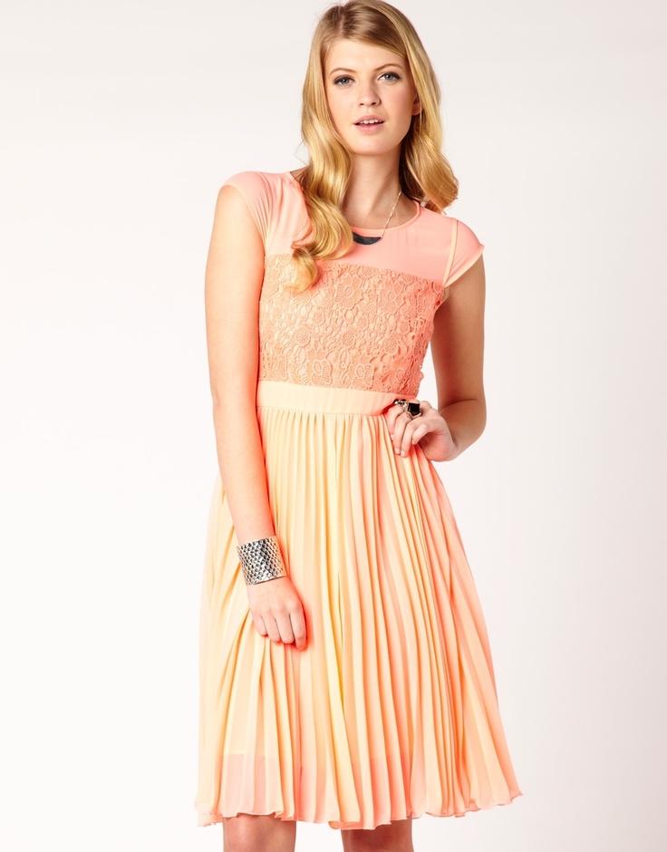 Lace Bodice Pleat Dress