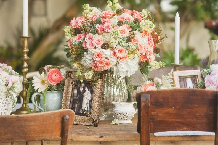 72 best centerpieces images on pinterest flower - Decoracion boda vintage ...