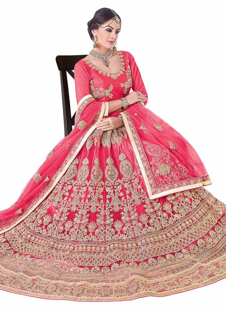 Buy Pink Art Silk A Line Lehenga online, SKU Code: GHSSIT15002. This Pink color Wedding a line lehenga for Women comes with Stones  Art Silk. Shop Now!