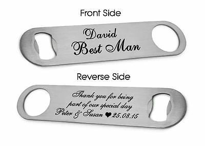 Personalised #steel bottle opener best man usher wedding #favour #thank you gift , View more on the LINK: http://www.zeppy.io/product/gb/2/161788015018/