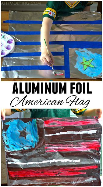 Make an American Flag on Aluminum Foil - Great 4th of July craft for kids! | CraftyMorning.com