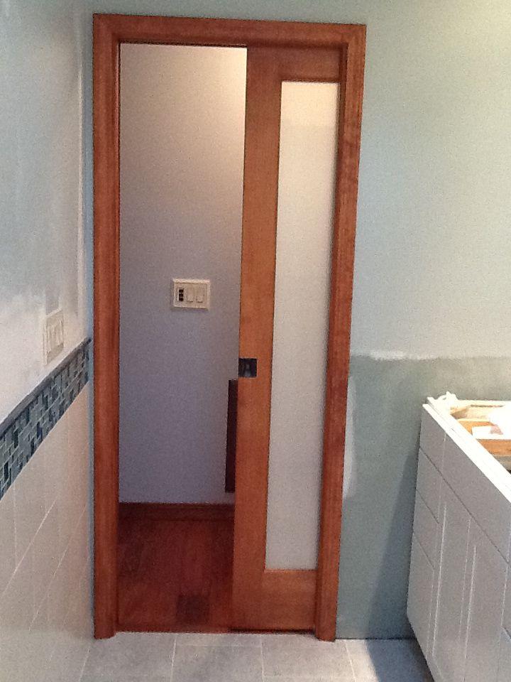 Pocket door our small master bath pinterest pocket for Master bathroom pocket door