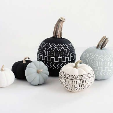 Mud cloth painted pumpkin