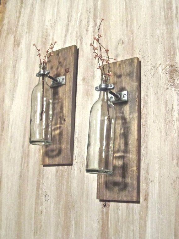 Wine Bottle Wall Mounted Vase set of 2 by aBurlapBoutique on Etsy, $46.00