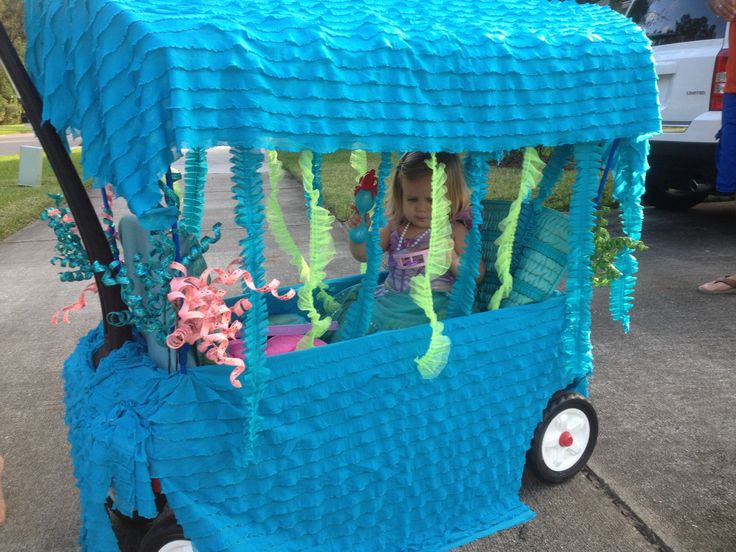 Ariel, little mermaid under the sea wagon - so cute my cousin made this for her little girl!