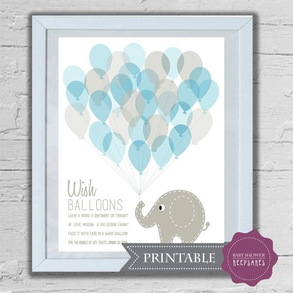 Baby Shower Keepsake Game Printable Art Print Elephant