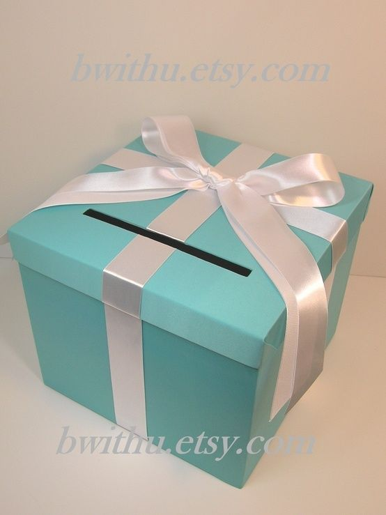 You'd need a card box, classic, simple. (and cheap to make!)  Tiffany Blue Wedding Card Box