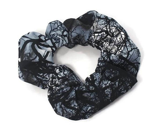 horror scrunchie - 80's 90's - creepy trees hair elastic - psychobilly hair tie - halloween hair accessory - scary forest macabre
