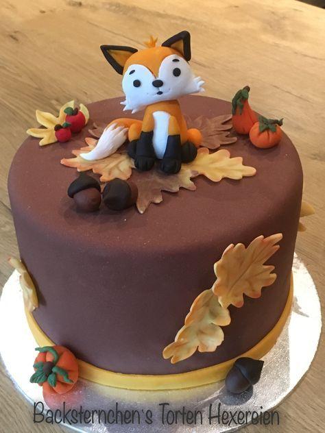 Motif cake autumn, motif cake fox, fondant fox …