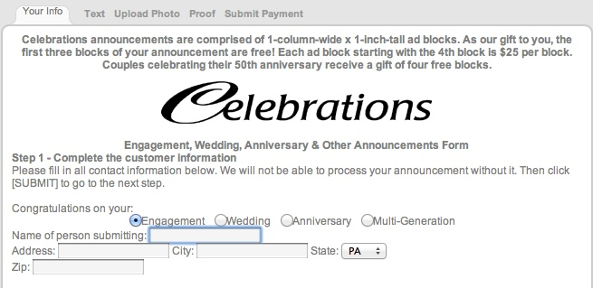 Submit announcements to Chambersburg newspaper Wedding Planning - customer contact information form