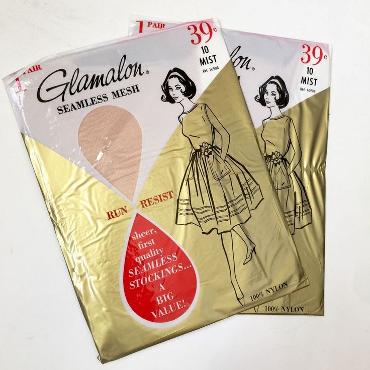 Glamalon Garter Stockings Mist 10 Vtg Nylon Hosiery 2 Pair Seamless Mesh  | eBay