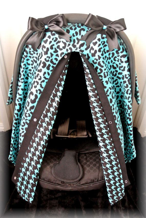 FLANNEL car seat canopy car seat cover teal by JaydenandOlivia