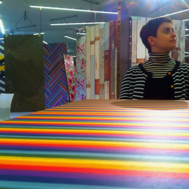 Wondering Lisa on a rainbow table in jannelli new showroom