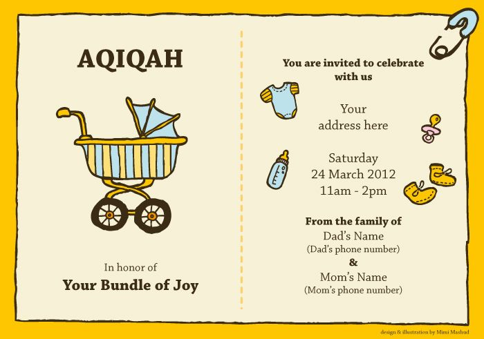 Aqiqah Invitation Card | hayfa | Pinterest | Beautiful, The o'jays and Children