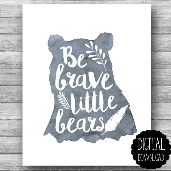 Be Brave Little Bears PRINTABLE Art / Twins Nursery Art Printable / Twin Boys Nursery Art DIY / Brothers Printable Art / Instant DOWNLOAD
