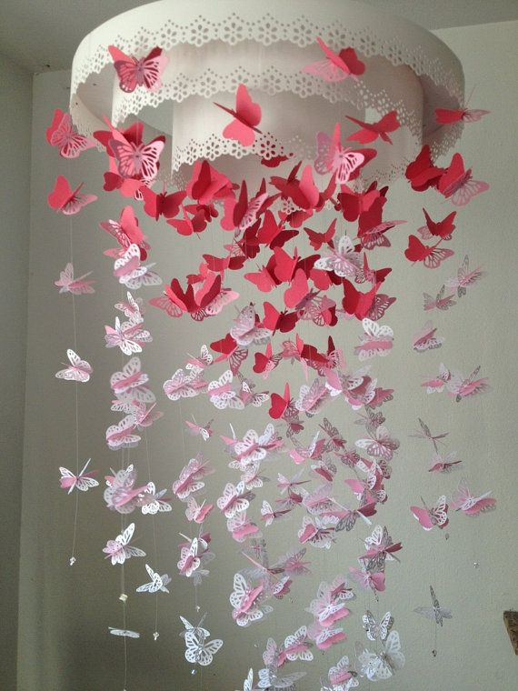 Paper Lace Chandelier Monarch Butterfly Mobile - pink and white Mix - Made to order