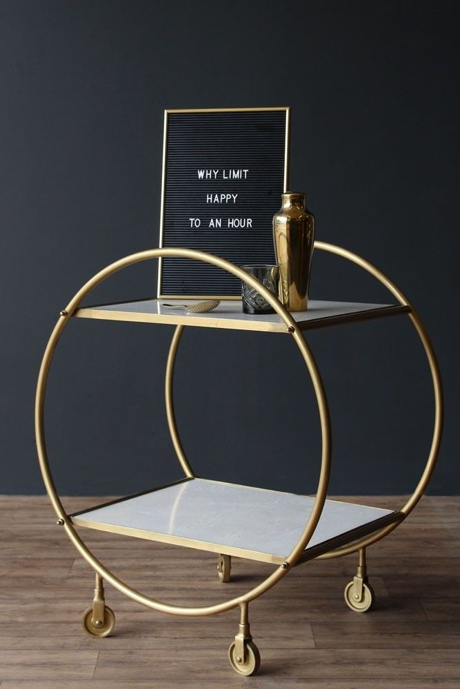 Round Brass and Marble Drinks Trolley - Trolleys - Furniture