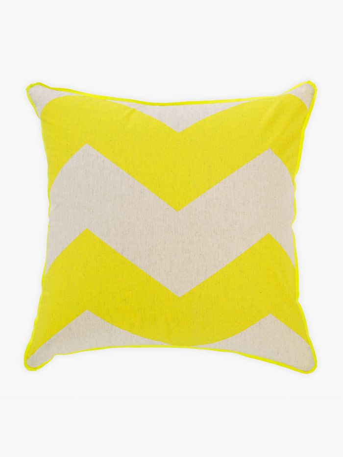 AURA Chevron Grande Cushion in Yellow, available at Forty Winks