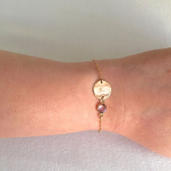 Bridesmaid Personalized Disc Bracelet Birthstone by StampedSchmuck