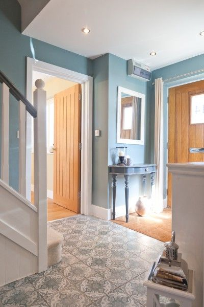Jasmine's morrocan inspired tiles in her duck egg blue hallway. | MADE.COM/Unboxed