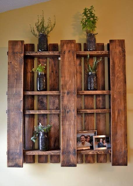 Pallet shelf for bar room