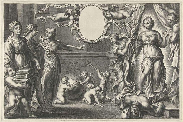 Cornelis Galle (II) | Verstand en Filosofie tonen een jonge man de Waarheid, Cornelis Galle (II), Cornelis Galle (I), 1610 - 1678 | Een filosoof, begeleidt door een putto die zijn boeken draagt, en de personificatie van het Verstand, een vrouw met een caduceus, wijzen een jonge man de weg naar de Waarheid. Rechts twee vrouwen die een gordijn op zij houden en de personificatie van de Waarheid, een jonge vrouw in een stralenkrans, die de Domheid vertrapt. In het midden houden twee putti een…