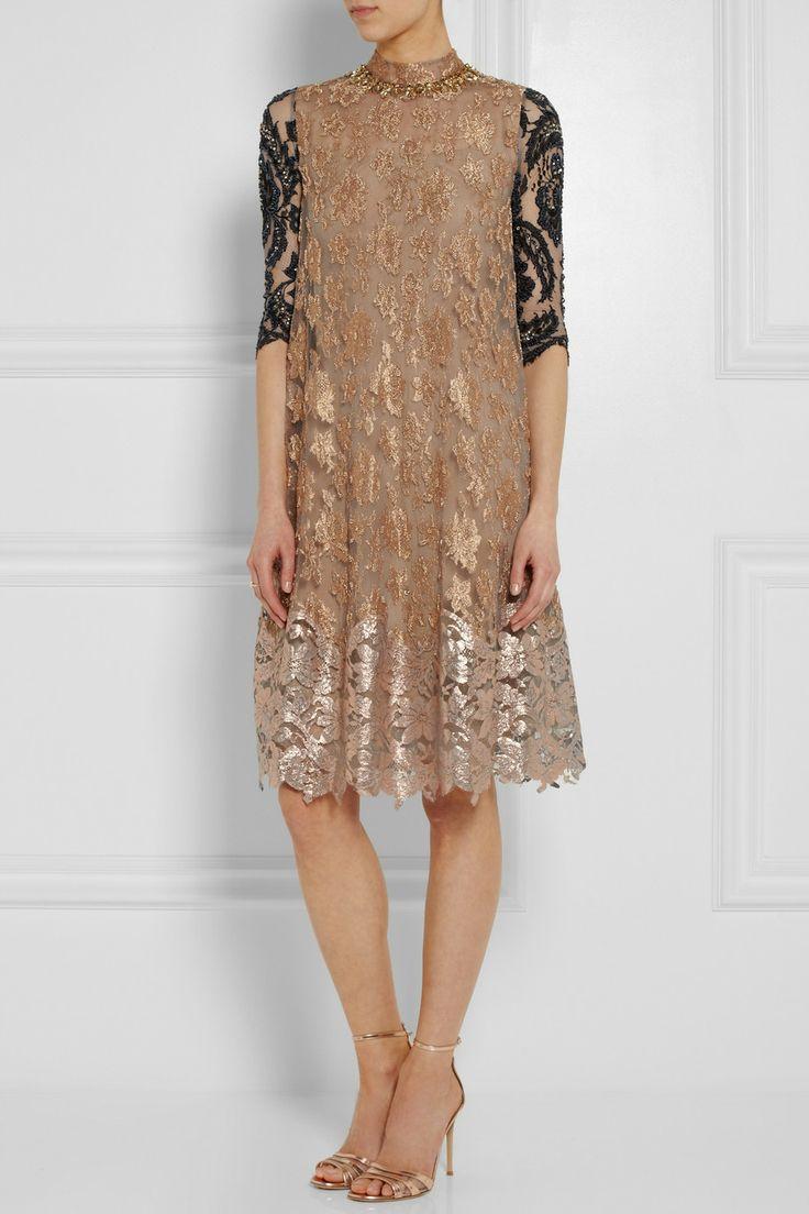Biyan | Amara embellished metallic lace dress | NET-A-PORTER.COM