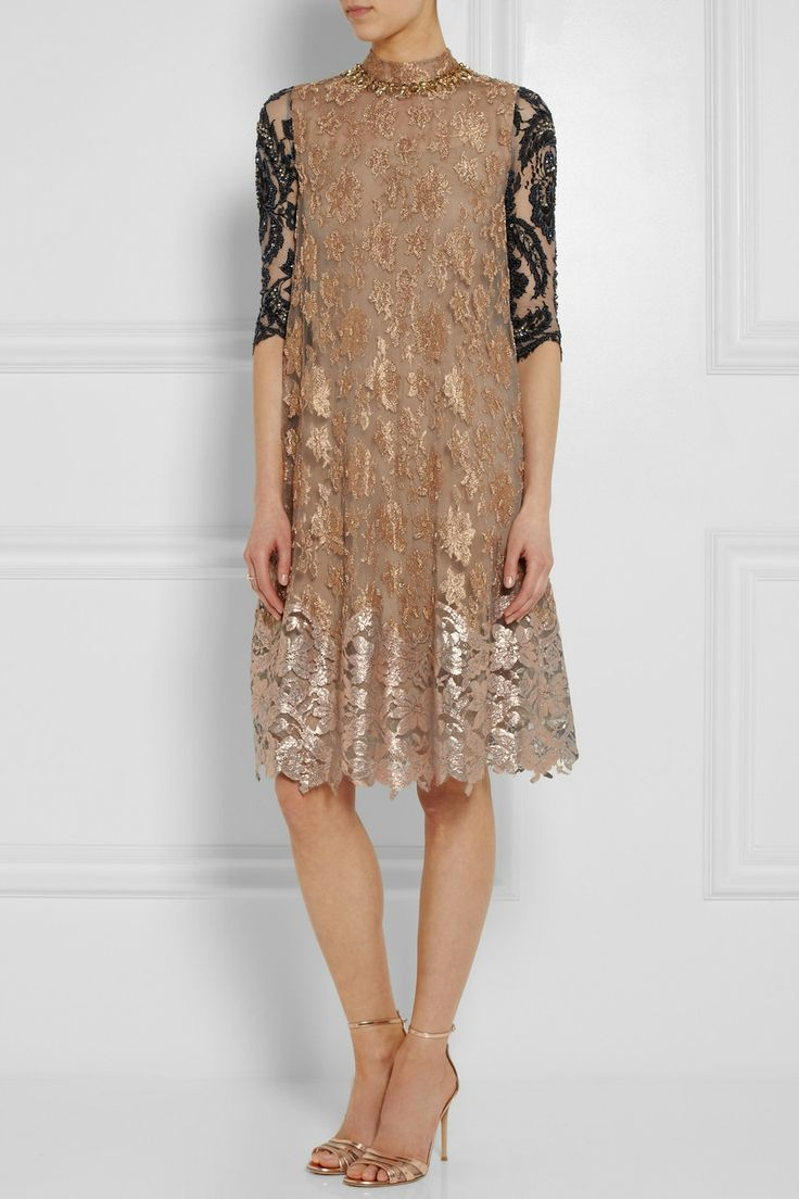 Biyan | Amara embellished metallic lace dress | NET-A-PORTER.COM