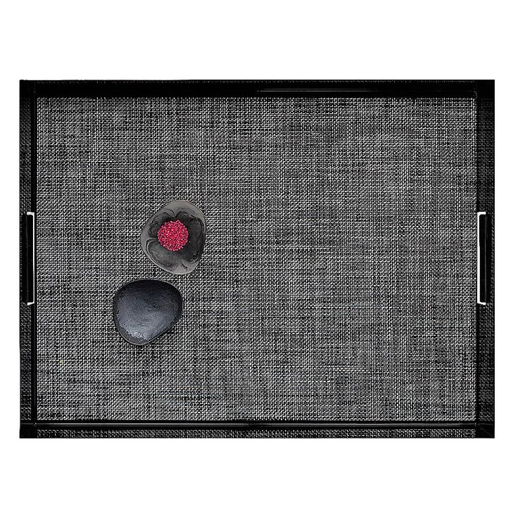 top3 by design - Chilewich - tablemat basket weave black + white inside the Manhattan Tray. Perfect :)