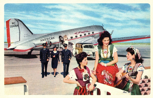 A vintage American Airlines postcard promoting travel to Mexico. #vintage #travel #airlines
