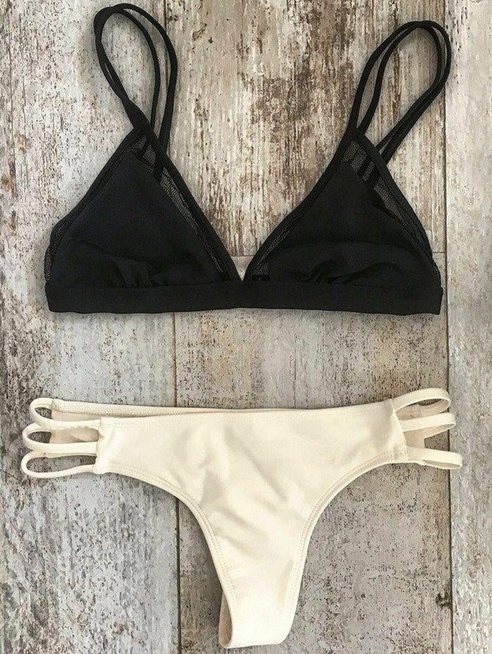 Mesh Splice Cami Bikini Set