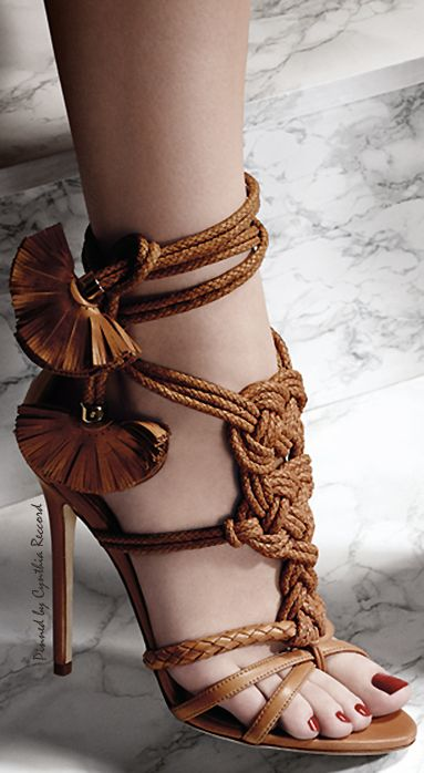 Woven Leather Brown Sandal Heel w Ankle Tie Embellishment