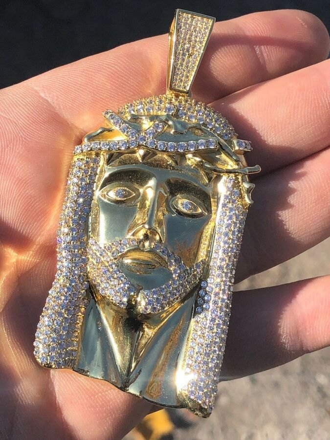 HUGE Mens Jesus Head Diamond Cross Piece Pendant 14k Gold Over SOLID Silver 925