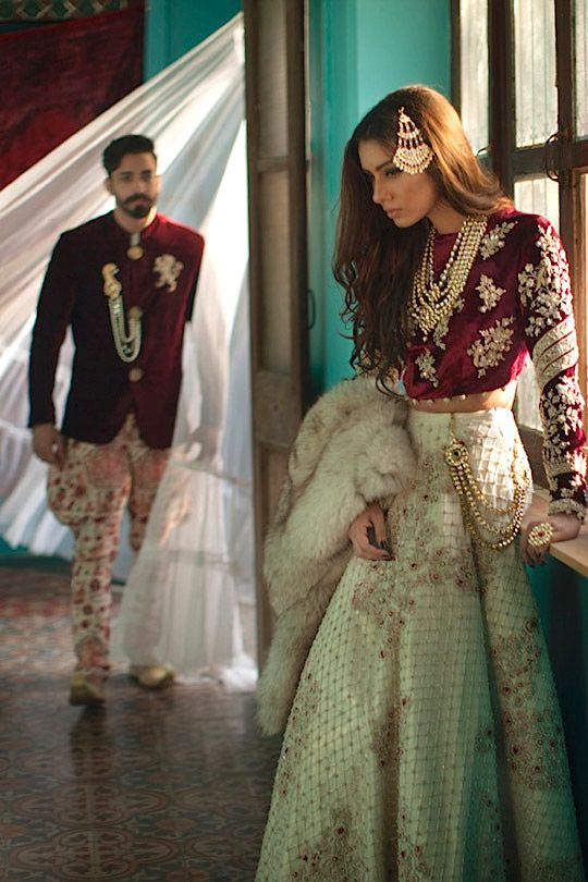 Paistani bridal, red, white and gold for bride and groom, velvet, rich, Shehla Chatoor, All the Raj, Fall/Winter 2015 (X)... - High Fashion Pakistan