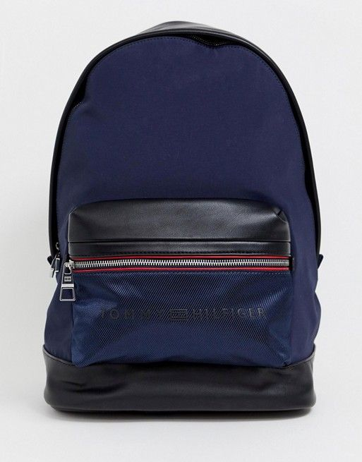 ad0839c70 Tommy Hilfiger nylon and faux leather mix backpack with icon stripe detail  in navy Tommy Hilfiger
