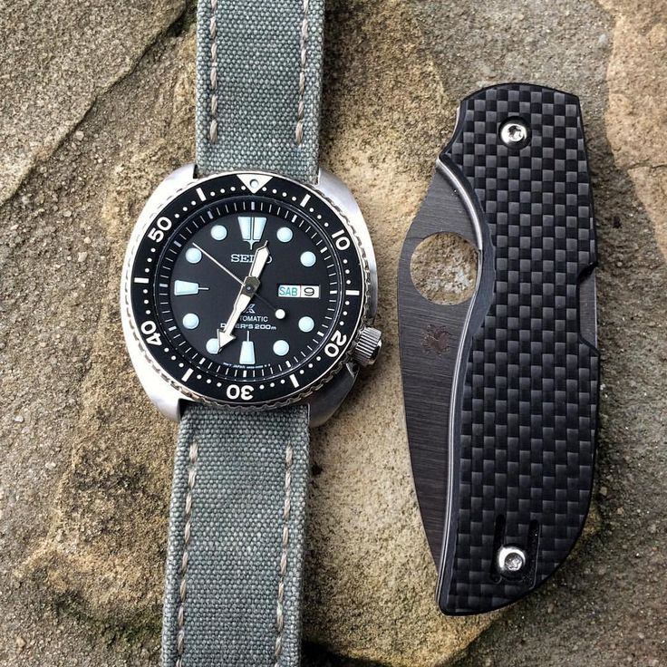 """Brice on Instagram: """"Another one with my #Spyderco #chaparral #knife  #Seiko #Turtle #SRP777"""
