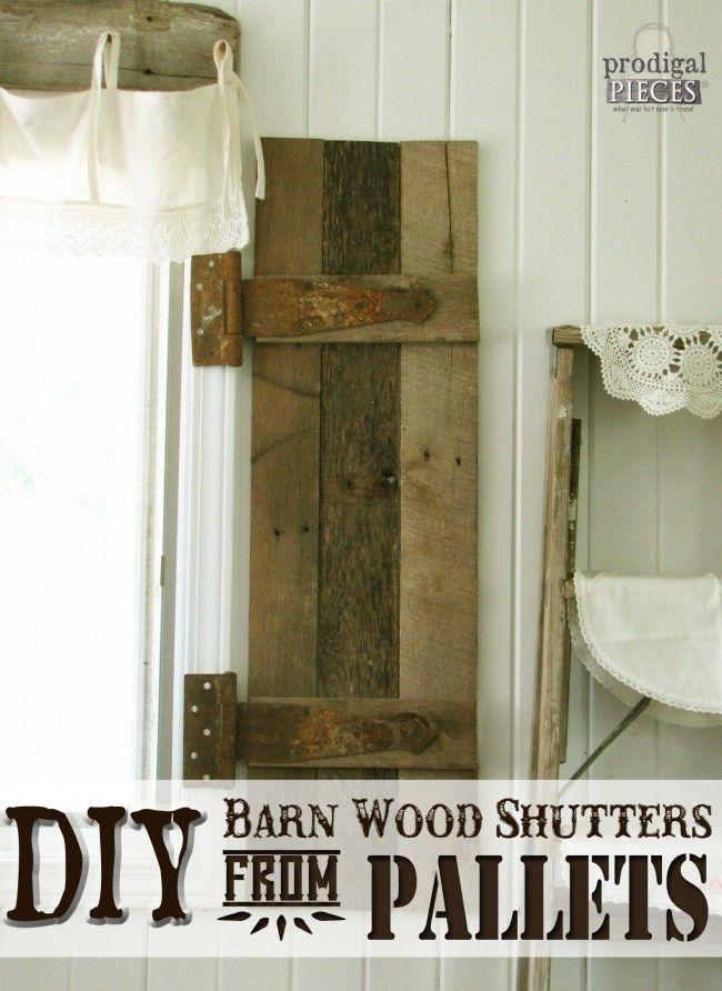 Do you crave the rust appeal of barn wood, but lack the barn? Come see how to make your own barn wood shutters from repurposed pallets in this DIY tutorial.