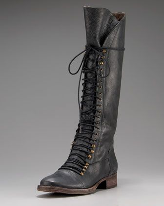 Joie Tall Lace-Up Boot - Neiman Marcus