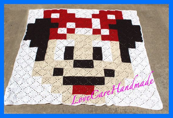 Minnie Mouse Crochet Blanket Large Mickey by LoveCareHandmade