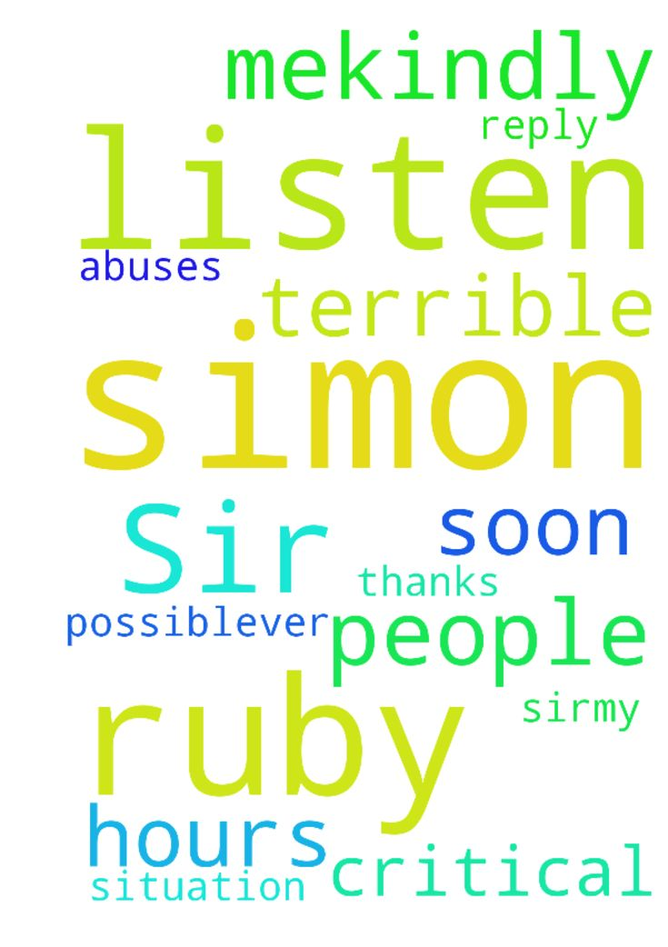 Dear Sir,my name is Ruby Simon. I am in - Dear Sir,my name is Ruby Simon. I am in a critical situation. 24 hours I listen terrible abuses and other people listens from me.Kindly prayer for me and reply as soon as possiblever. Thanks Posted at: https://prayerrequest.com/t/oXZ #pray #prayer #request #prayerrequest