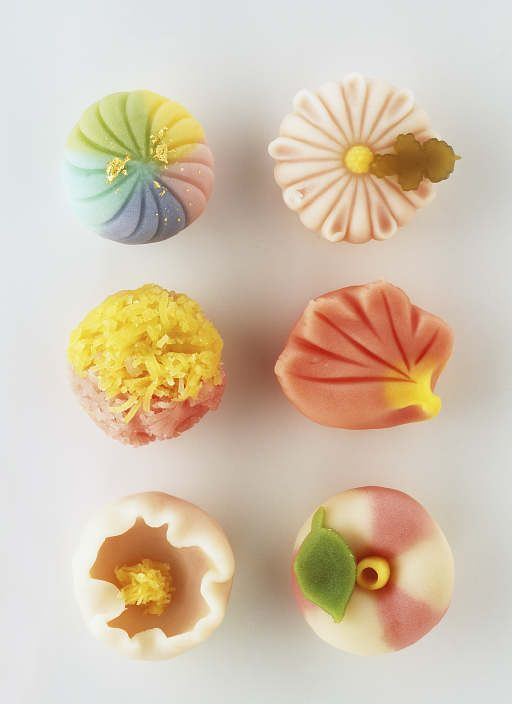 Wagashi . looks like marzipan  Almost too pretty to eat!