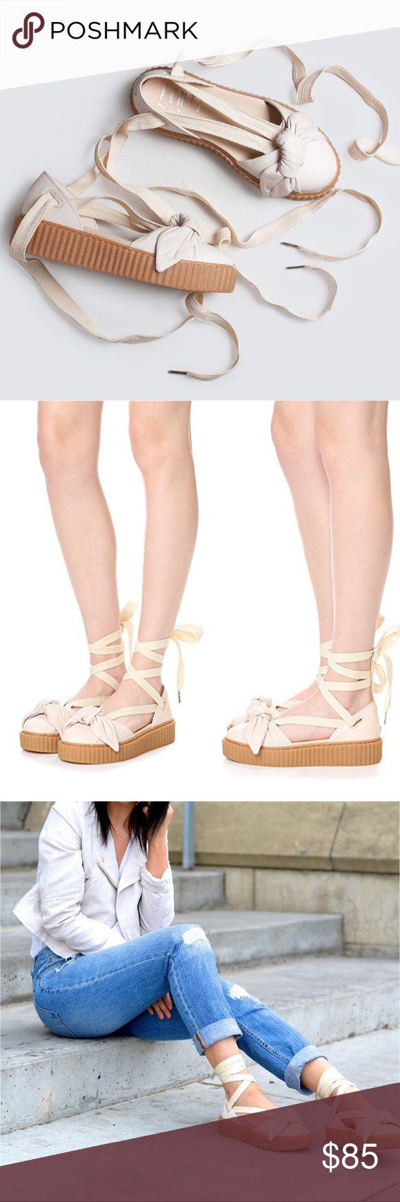 "Puma Fenty x Rihanna Nude Bow Creeper Sandal From Rihanna's FENTY x PUMA collection. A ridged, rubber platform provides a sturdy lift to these soft leather PUMA sandals. A knotted bow adds touch of feminine style. Wide lace-up ties. Rubber sole.  Measurements ▫️Heel: 1 ½"" ▫️Platform: 1 ¼"" Puma Shoes Sandals"