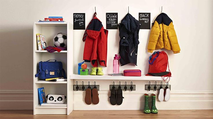 School kit organised in a hallway | Back-to-school organisation station | Tesco Living