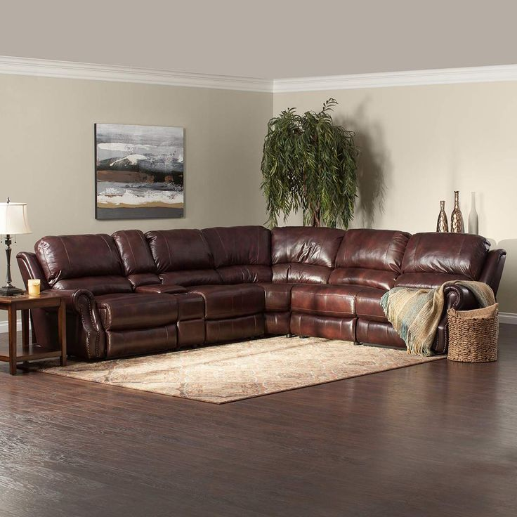 $2899.99 Jeromes - The Triton is a luxurious brown reclining sectional with buttery soft top- : top grain leather sectional recliner - Sectionals, Sofas & Couches