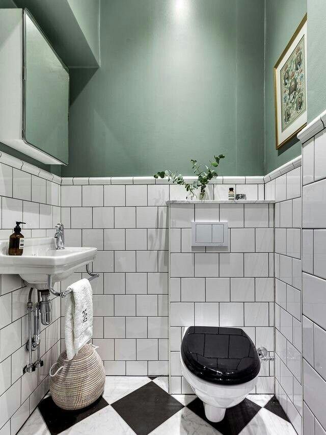 Inredning, kakel och färgval för lilla toaletten!