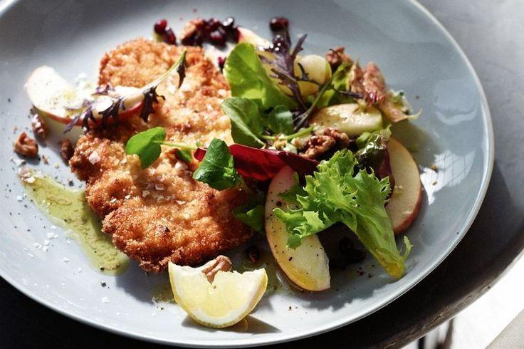 Pork schnitzel with apple salad