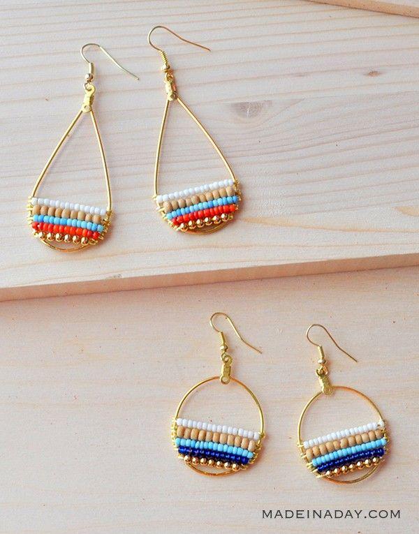 Super fun layered beaded earrings, so cute & boho. Tutorial on madeinaday.com #anthrohack