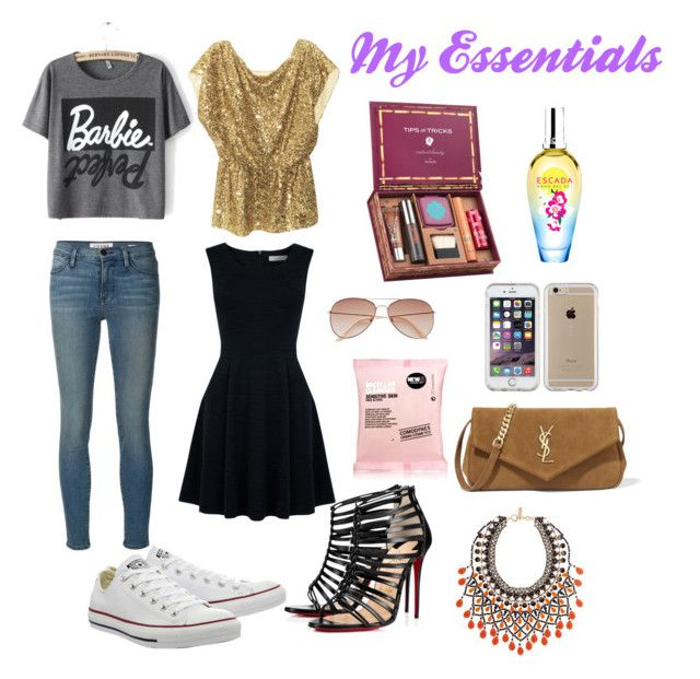 """""""My essentials"""" by superficiales on Polyvore featuring moda, Christian Louboutin, ESCADA, Benefit, Oasis, Frame, Alice + Olivia, Comodynes, Converse y Speck"""